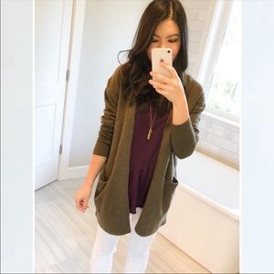 Madewell Ryder Long Cardigan in Olive